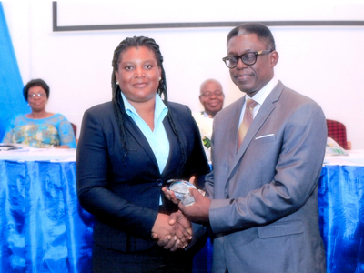 Ing Dr. Patricia Oteng-Darko receiving the award at the ceremony